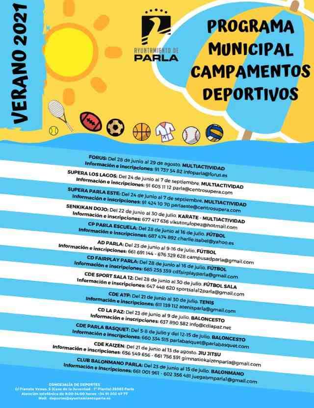 Cartel Campamentos de verano 2021
